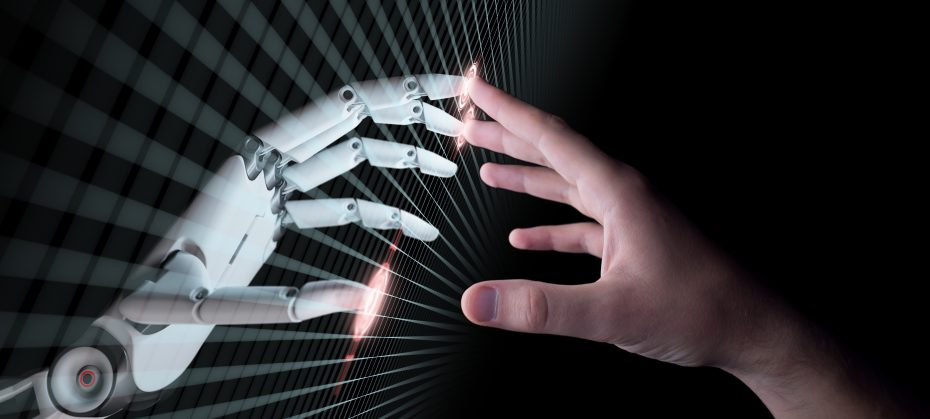 Human and robot hand touching